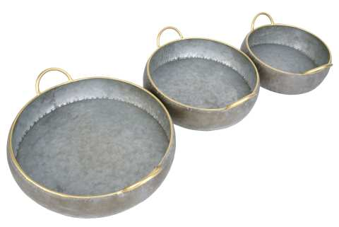 Zinkschale flach rund mit Henkeln Goldrand Set/3