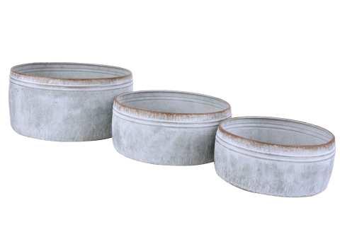Pflanzschale Metall rund Set/3