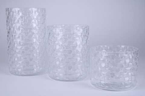 Glas Zylinder mit Gittermuster