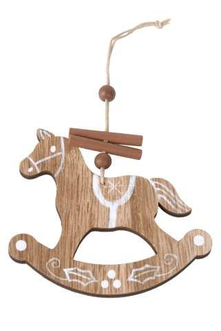 Holzpferd mit Deko zum Hängen