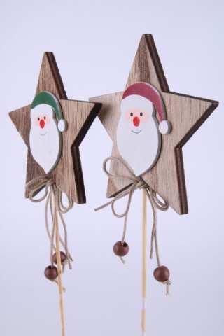 Holzstern mit Weihnachtsmann am Stab