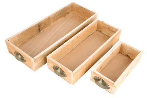 Holzkiste rechteckig Set/3