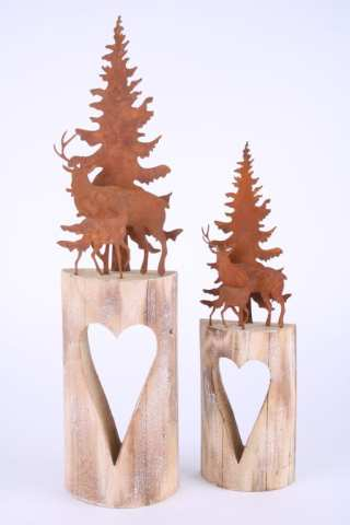 Metall-Landschaft auf Holzherz
