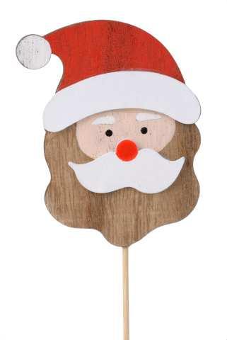 Weihnachtsmann Holz am Stab