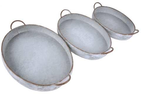 Metalltablett mit Henkel oval Set/3