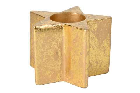 Teelichthalter Stern Beton mit Blattgold