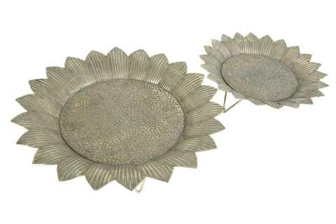 Metallteller Sonnenblume auf Fuß