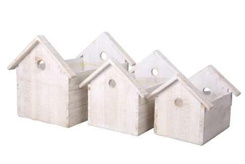 Vogelkiste Holz Set/3