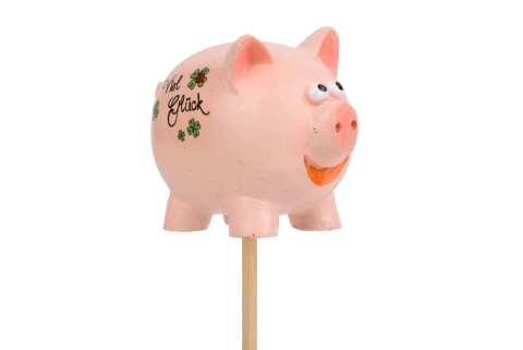 Schweinchen Poly am Stab Viel Glück