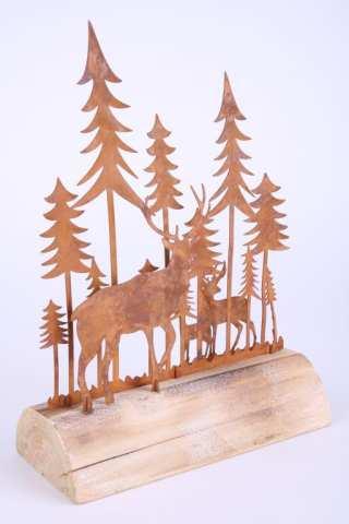 Metall-Wald mit Hirsch auf Holz