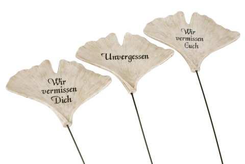 Ginkgoblatt mit Spruch am Draht - 3 Modelle