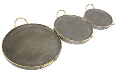 Zinktablett rund mit Henkeln Goldrand Set/3