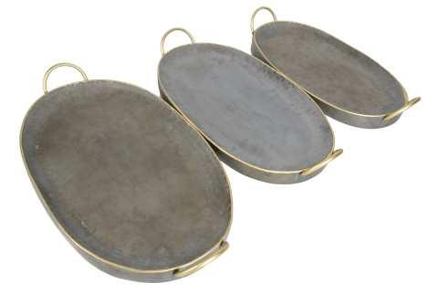 Zinktablett oval mit Henkeln Goldrand Set/3