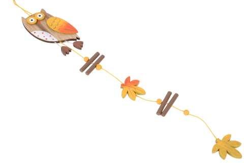Eule Hänger Holz mit Herbstdeko