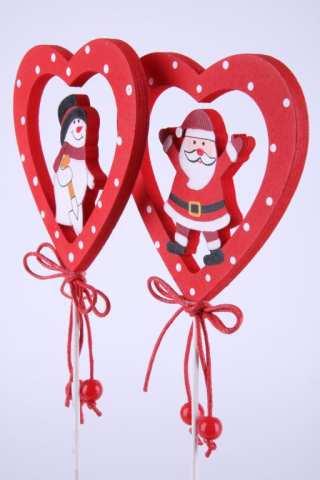 Holzstecker Herz mit Schneemann / Santa