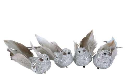 Vögel Glitzer m.Clip Styropor