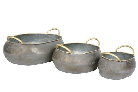Zinkschale oval mit Henkeln Goldrand Set/3
